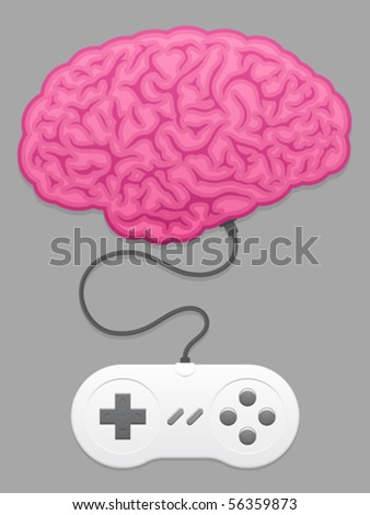 Brain with computer game pad - vector - stock vector