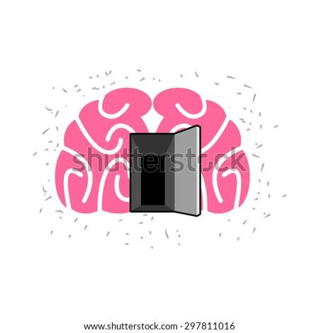 Brain with door open. Open mind. Vector illustration  - stock vector