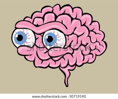 Brain with Eyes - Vector Illustration