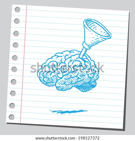 Brain with funnel - stock vector