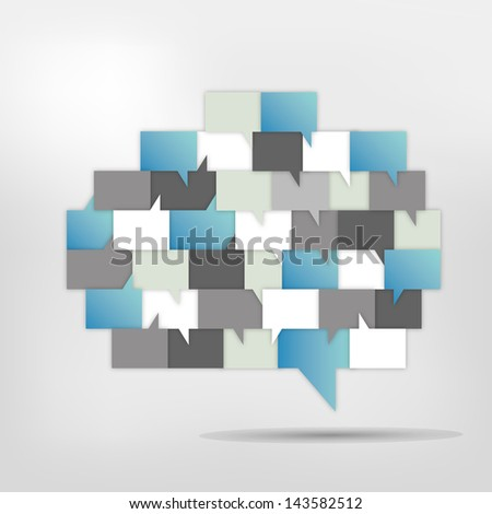 Brain with speech bubbles. Colorful speak and dialog bubbles. - stock vector