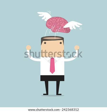 Brain with wing flying freedom from businessman meditation - stock vector