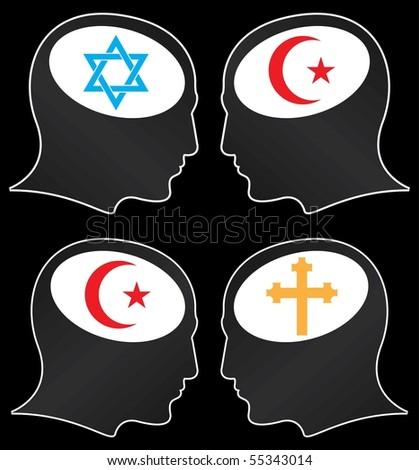 brains of religious fanatics. vector illustration - stock vector