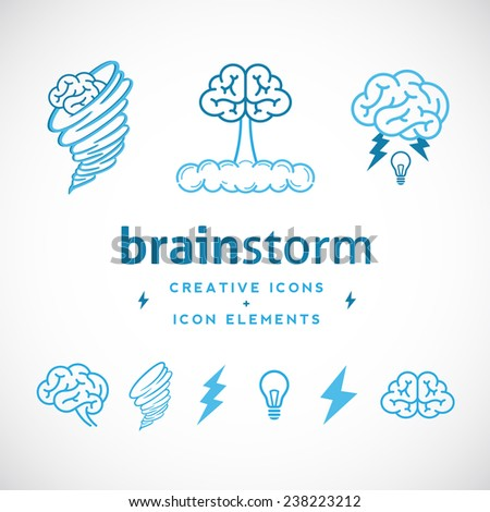 Brainstorm Abstract Creative Logo Template or Icons and Elements Set Isolated - stock vector