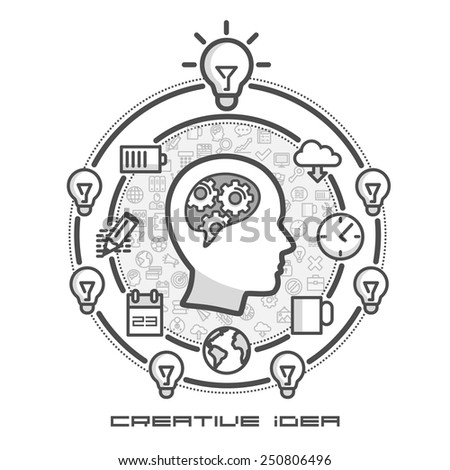Brainstorm as infographics in icons. Vector illustration - stock vector