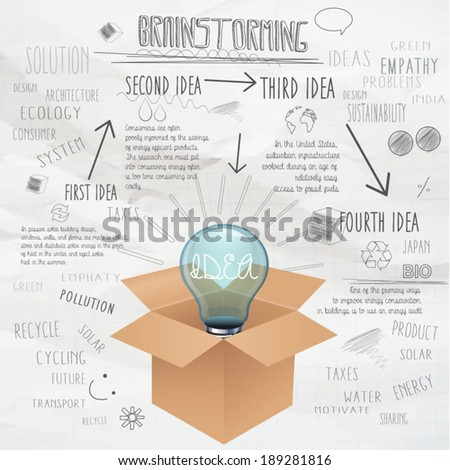 Brainstorm background with bulb and box. - stock vector