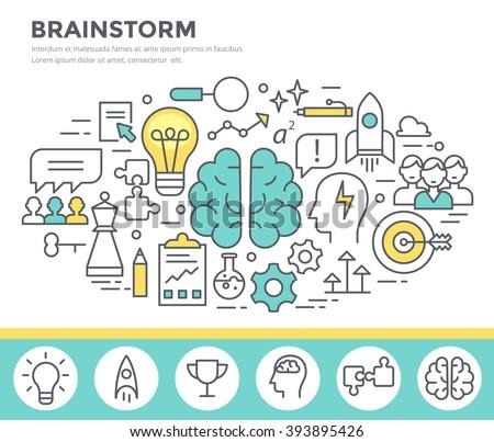 Brainstorm  concept illustration, thin line flat design - stock vector