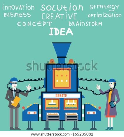 Brainstorm of businessman and businesswoman. Create ideas and creative solutions - vector illustration - stock vector