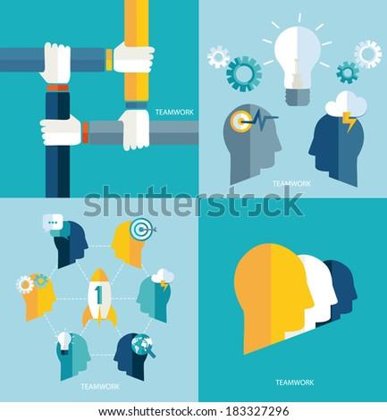 Brainstorm. Startup. Teamwork concept. Vector.   Brainstorming. Concept teamwork. Vector. - stock vector