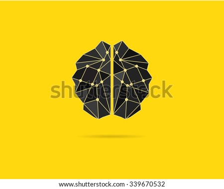 Brainstorm template, brain icon, idea poster template and elements. Vector concept isolated on Creative yellow background. Brochure design. Text paper. - stock vector
