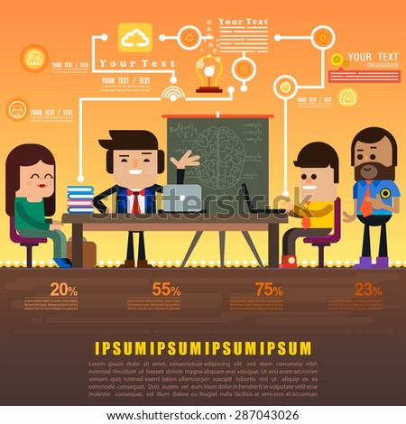 Brainstorming creative people concept, Teamwork concept, Brainstorm big idea, consulting,Vector illustration. - stock vector