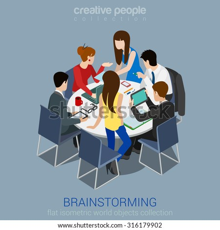 Brainstorming creative team idea discussion people flat 3d web isometric infographic concept vector. Teamwork staff around table laptop chief art director designer programmer. - stock vector