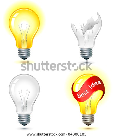 brainstorming - good and bad idea light bulb concept - turned off and glowing lamps - stock vector