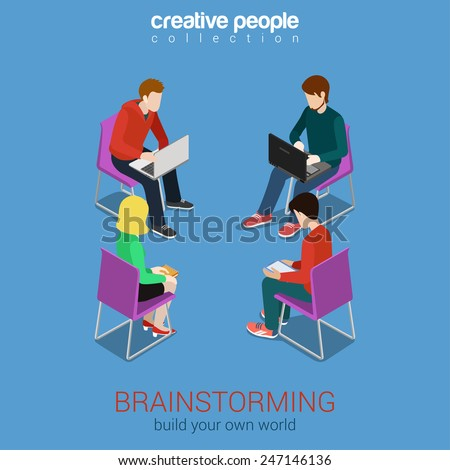 Brainstorming group of people flat 3d web isometric infographic concept vector. Build your own world creative people collection. - stock vector