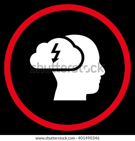 Brainstorming vector bicolor icon. Image style is a flat icon symbol inside a circle, red and white colors, black background. - stock vector
