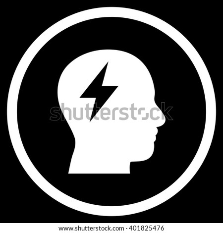 Brainstorming vector icon. Image style is a flat icon symbol inside a circle, white color, black background. - stock vector