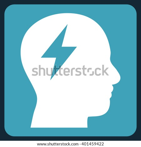 Brainstorming vector icon. Image style is bicolor flat brainstorming iconic symbol drawn on a rounded square with blue and white colors. - stock vector