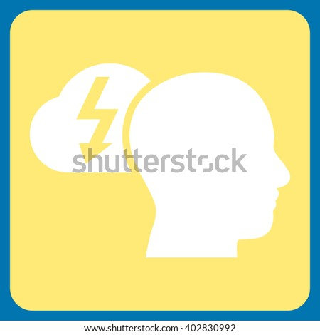 Brainstorming vector icon symbol. Image style is bicolor flat brainstorming iconic symbol drawn on a rounded square with yellow and white colors. - stock vector