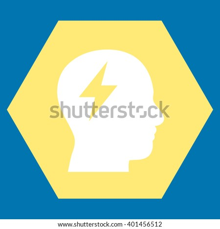 Brainstorming vector icon symbol. Image style is bicolor flat brainstorming pictogram symbol drawn on a hexagon with yellow and white colors. - stock vector