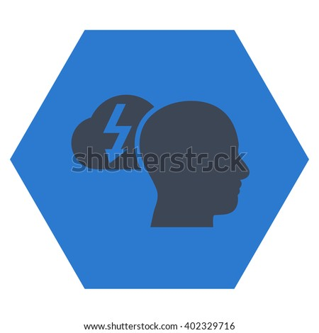 Brainstorming vector icon symbol. Image style is bicolor flat brainstorming pictogram symbol drawn on a hexagon with smooth blue colors. - stock vector