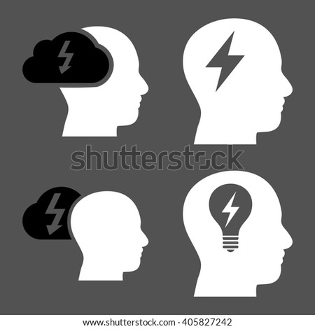 Brainstorming vector icons. Style is bicolor black and white flat symbols on a gray background. - stock vector