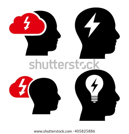 Brainstorming vector icons. Style is bicolor intensive red and black flat symbols on a white background. - stock vector
