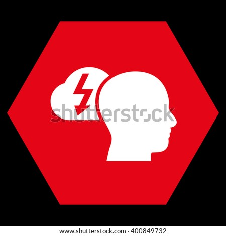 Brainstorming vector pictogram. Image style is bicolor flat brainstorming pictogram symbol drawn on a hexagon with red and white colors. - stock vector