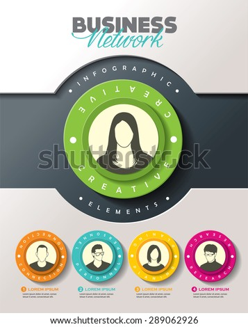 Brainstorming with group of people and Infographic elements - stock vector
