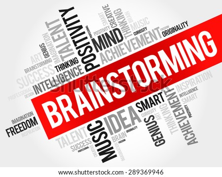 Brainstorming word cloud, business concept - stock vector