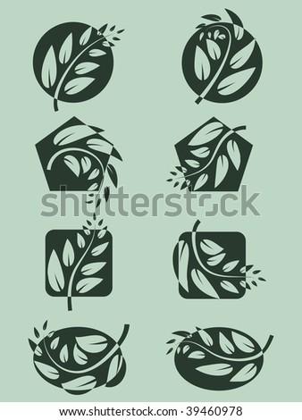 Branch logo set. Vector  illustration. - stock vector