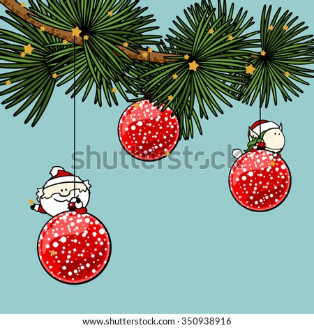 Branch of a decorated Christmas tree with cute tiny Santa Claus and fairy girl - stock vector