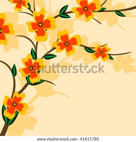 Branch of a plant, the Japanese style, background - stock vector