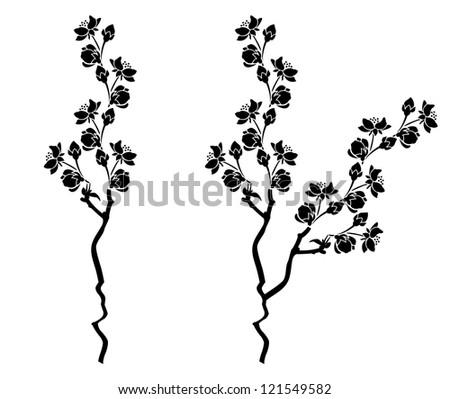 Branch of blossom cherry sakura  branch with flowers - stock vector