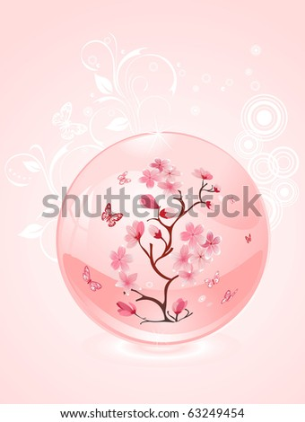 branch of cherries in a glass bowl, vector design
