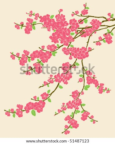 Branch of Flowers, spring is come - stock vector