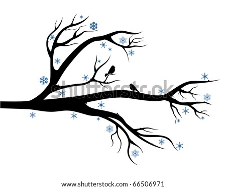 Branch of tree with birds on it. Winter composition for Your design - stock vector