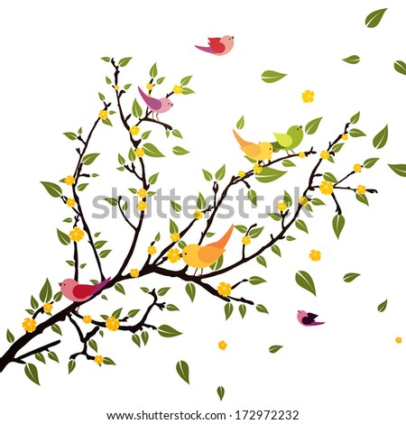 Branch with birds - vector