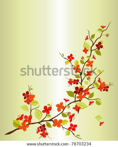 Branch with bright peach flowers