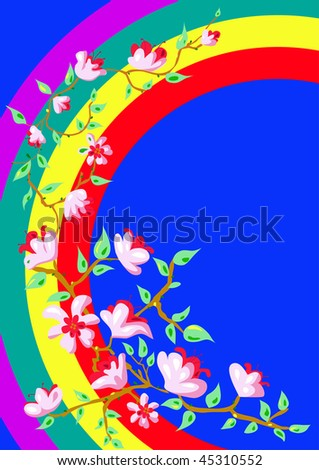 Branch with flowers against a background of the rainbow - stock vector