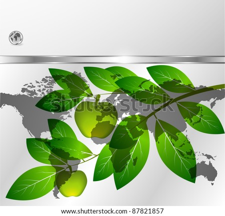 Branch with green apples on a background the map of the world - stock vector