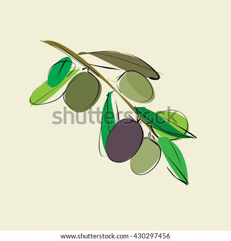 branch with leaves and olives