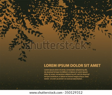 branch with leaves silhouette in dark night - stock vector