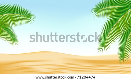 Branches of palm trees against the backdrop of the desert. Vector illustration.