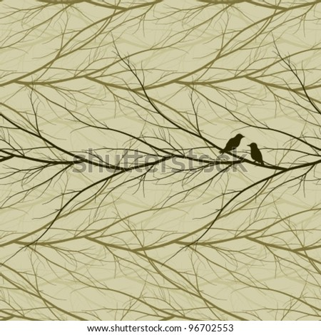 branches seamless pattern with birds - stock vector