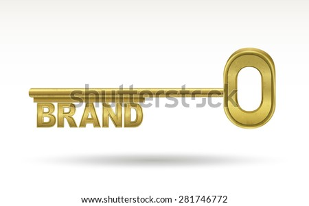brand - golden key isolated on white background