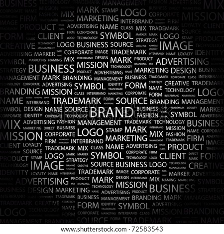 BRAND. Word collage on black background. Vector illustration. Illustration with different association terms. - stock vector