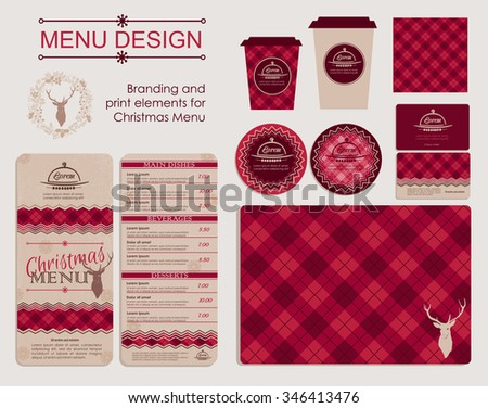 Branding and print elements for Christmas menu. Template for branding identity restaurant or cafe. Set of menu, business cards, labels. Bright design concept in red. - stock vector