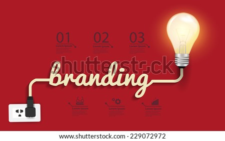 Branding concept, Creative light bulb idea abstract infographic layout, diagram, step up options, Vector illustration modern design template - stock vector