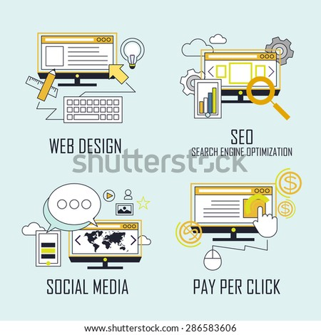 branding concept: web design-SEO-social media- pay per click in line style - stock vector