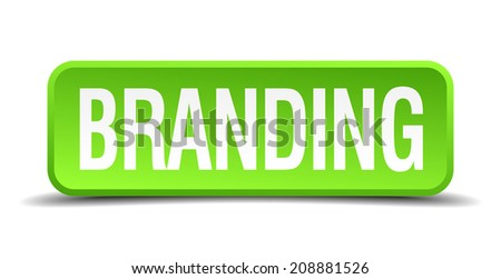 Branding green 3d realistic square isolated button - stock vector